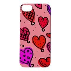 Valentine Wallpaper Whimsical Cartoon Pink Love Heart Wallpaper Design Apple iPhone 5S/ SE Hardshell Case