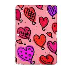 Valentine Wallpaper Whimsical Cartoon Pink Love Heart Wallpaper Design Samsung Galaxy Tab 2 (10 1 ) P5100 Hardshell Case