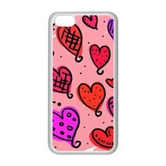 Valentine Wallpaper Whimsical Cartoon Pink Love Heart Wallpaper Design Apple iPhone 5C Seamless Case (White)