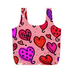 Valentine Wallpaper Whimsical Cartoon Pink Love Heart Wallpaper Design Full Print Recycle Bags (m)