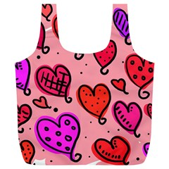 Valentine Wallpaper Whimsical Cartoon Pink Love Heart Wallpaper Design Full Print Recycle Bags (l)