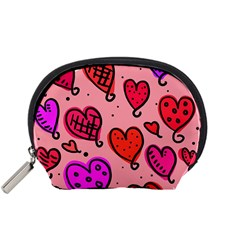 Valentine Wallpaper Whimsical Cartoon Pink Love Heart Wallpaper Design Accessory Pouches (small)