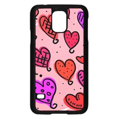 Valentine Wallpaper Whimsical Cartoon Pink Love Heart Wallpaper Design Samsung Galaxy S5 Case (black)