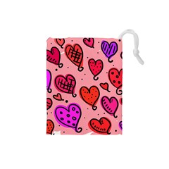 Valentine Wallpaper Whimsical Cartoon Pink Love Heart Wallpaper Design Drawstring Pouches (Small)