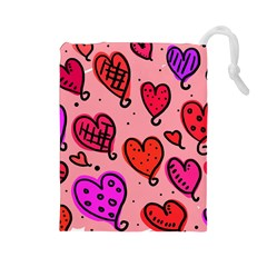 Valentine Wallpaper Whimsical Cartoon Pink Love Heart Wallpaper Design Drawstring Pouches (large)
