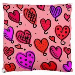 Valentine Wallpaper Whimsical Cartoon Pink Love Heart Wallpaper Design Standard Flano Cushion Case (two Sides)