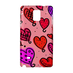 Valentine Wallpaper Whimsical Cartoon Pink Love Heart Wallpaper Design Samsung Galaxy Note 4 Hardshell Case