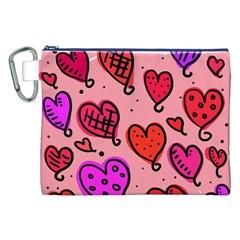 Valentine Wallpaper Whimsical Cartoon Pink Love Heart Wallpaper Design Canvas Cosmetic Bag (XXL)