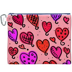 Valentine Wallpaper Whimsical Cartoon Pink Love Heart Wallpaper Design Canvas Cosmetic Bag (XXXL)