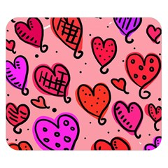 Valentine Wallpaper Whimsical Cartoon Pink Love Heart Wallpaper Design Double Sided Flano Blanket (Small)