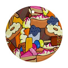 Sweet Stuff Digitally Food Round Ornament (two Sides)
