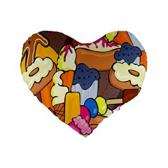 Sweet Stuff Digitally Food Standard 16  Premium Heart Shape Cushions
