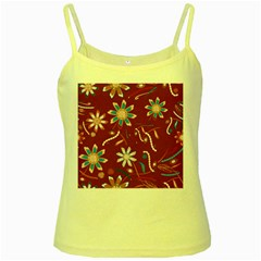 Floral Seamless Pattern Vector Yellow Spaghetti Tank