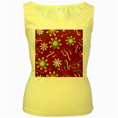 Floral Seamless Pattern Vector Women s Yellow Tank Top