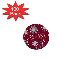 Floral Seamless Pattern Vector 1  Mini Buttons (100 Pack)