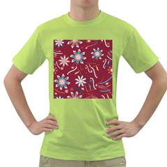 Floral Seamless Pattern Vector Green T-Shirt
