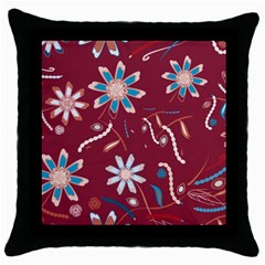 Floral Seamless Pattern Vector Throw Pillow Case (Black)