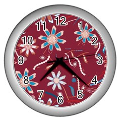 Floral Seamless Pattern Vector Wall Clocks (Silver)