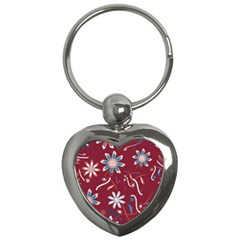 Floral Seamless Pattern Vector Key Chains (Heart)