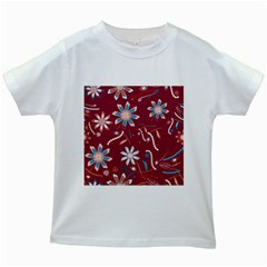 Floral Seamless Pattern Vector Kids White T-Shirts