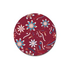 Floral Seamless Pattern Vector Magnet 3  (round)
