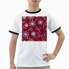 Floral Seamless Pattern Vector Ringer T-Shirts