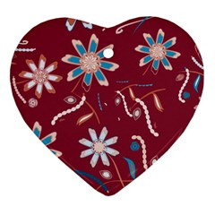 Floral Seamless Pattern Vector Heart Ornament (two Sides)