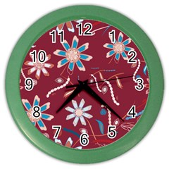 Floral Seamless Pattern Vector Color Wall Clocks