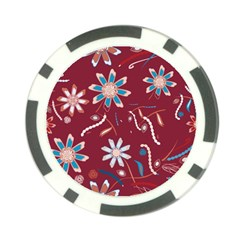 Floral Seamless Pattern Vector Poker Chip Card Guard (10 Pack)