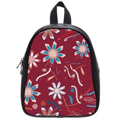 Floral Seamless Pattern Vector School Bags (small)