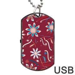 Floral Seamless Pattern Vector Dog Tag USB Flash (Two Sides)