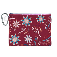 Floral Seamless Pattern Vector Canvas Cosmetic Bag (XL)