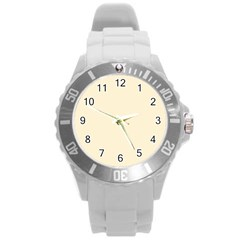 Gardenia Cream in an English Country Garden Round Plastic Sport Watch (L)