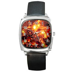 Summer Evening Square Metal Watch
