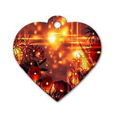 Summer Evening Dog Tag Heart (one Side)