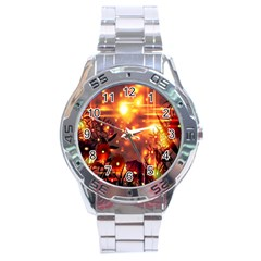 Summer Evening Stainless Steel Analogue Watch