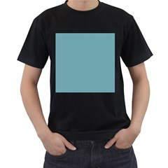 Hydrangea Blue in an English Country Garden Men s T-Shirt (Black) (Two Sided)