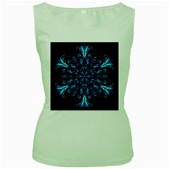 Blue Snowflake Women s Green Tank Top