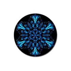 Blue Snowflake Magnet 3  (Round)