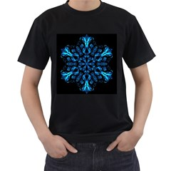 Blue Snowflake Men s T-Shirt (Black) (Two Sided)