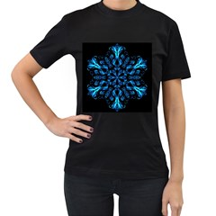 Blue Snowflake Women s T-Shirt (Black) (Two Sided)