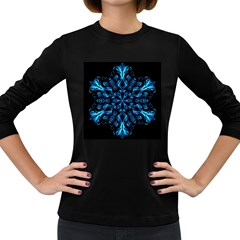 Blue Snowflake Women s Long Sleeve Dark T Shirts