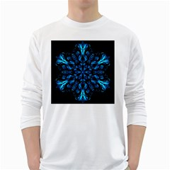 Blue Snowflake White Long Sleeve T Shirts