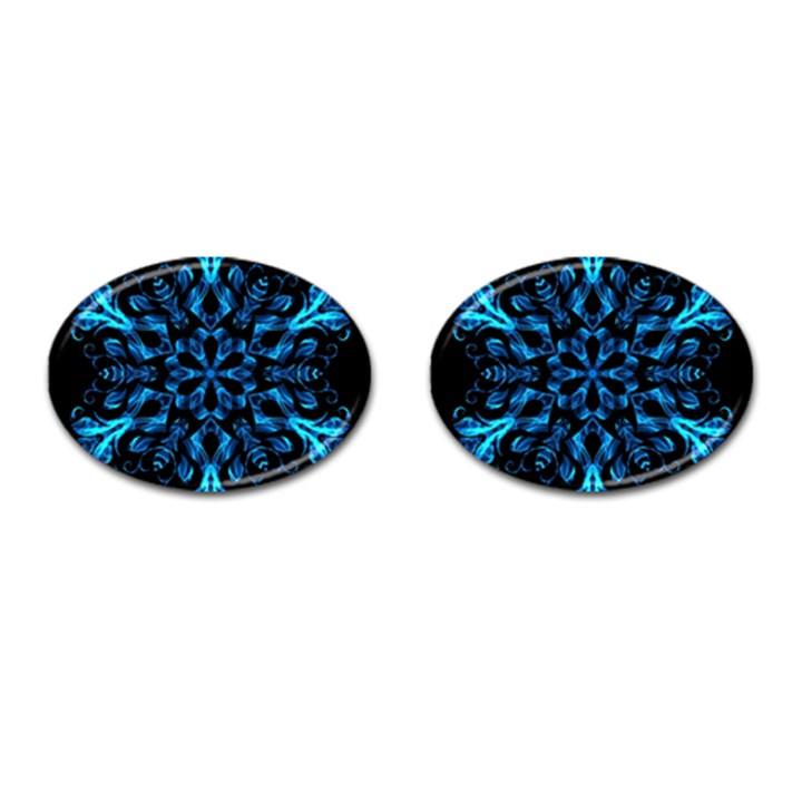 Blue Snowflake Cufflinks (Oval)