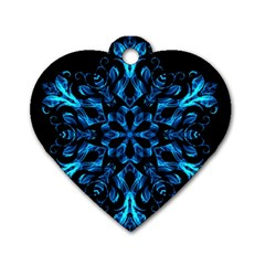 Blue Snowflake Dog Tag Heart (Two Sides)