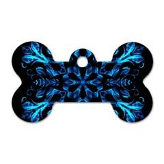 Blue Snowflake Dog Tag Bone (Two Sides)