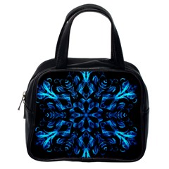 Blue Snowflake Classic Handbags (One Side)