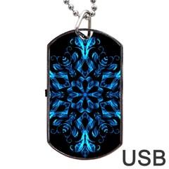 Blue Snowflake Dog Tag USB Flash (Two Sides)
