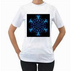 Blue Snowflake Women s T-Shirt (White)
