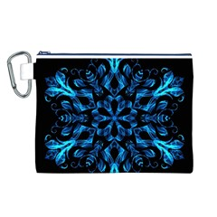 Blue Snowflake Canvas Cosmetic Bag (L)